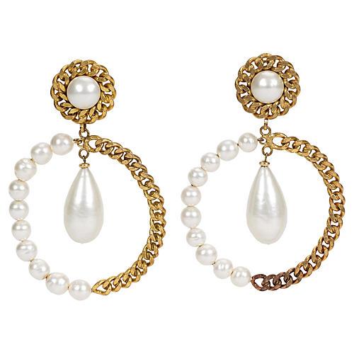 Chanel Oversize Pearl Hoop Drop Earrings