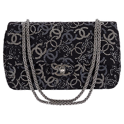 Chanel Rhinestone Logo Double-Flap Bag