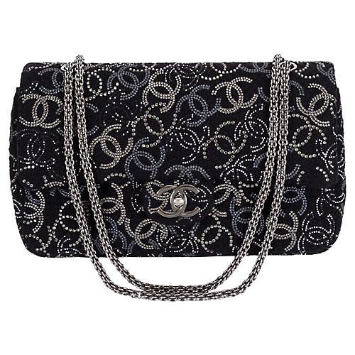Chanel Rhinestone Logo Double-Flap Bag