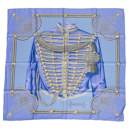 Hermès Brandebourgs Blue Silk Scarf