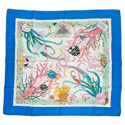 Gucci Blue Silk Sea Life Scarf