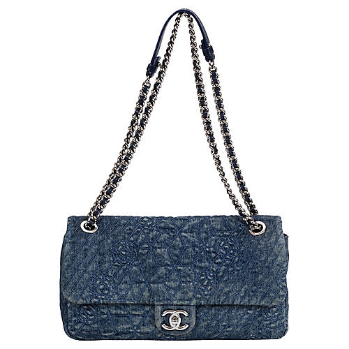 Chanel Denim Camellia Embossed Jumbo Bag