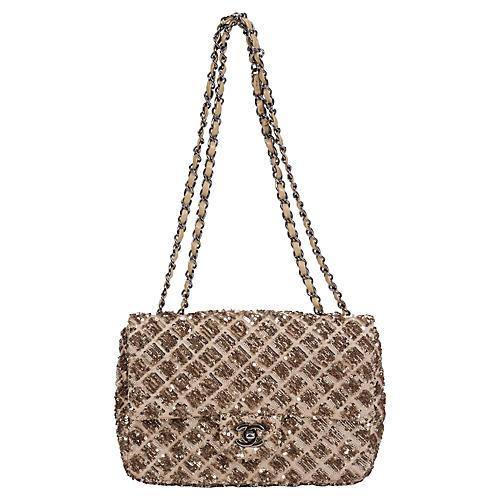 Chanel Beige & Gold Sequin Flap Bag