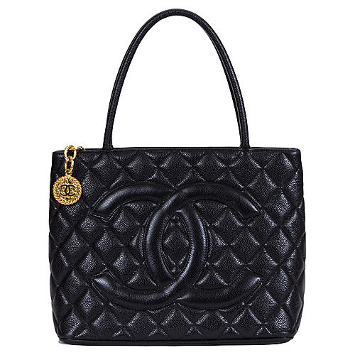 Chanel Black Caviar Gold Medallion Bag