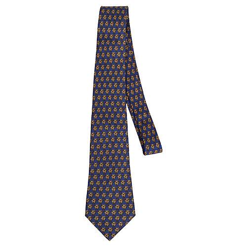 Hermès Classic Blue Silk Tie