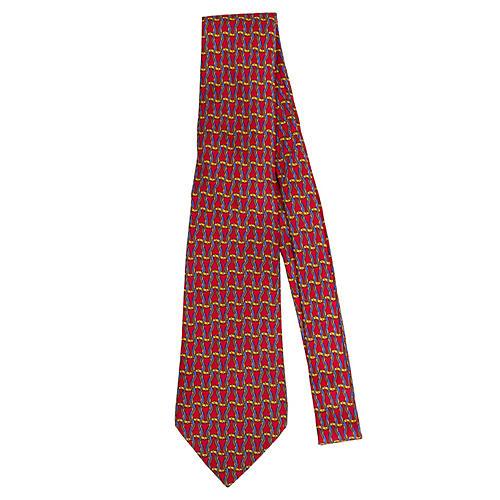 Hermès Woven Red Rope Silk Tie