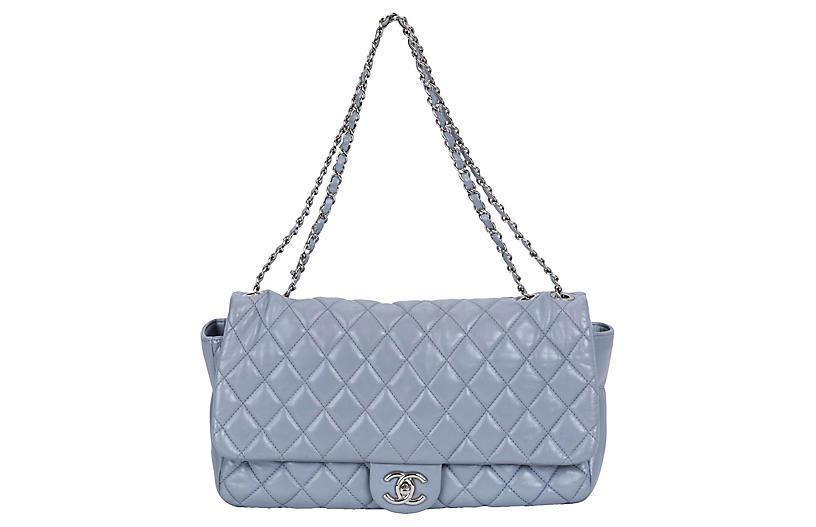 Chanel Maxi Gray Rain Jacket Flap Bag