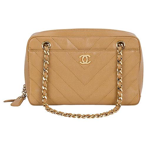 Chanel Beige Caviar Chevron Handbag