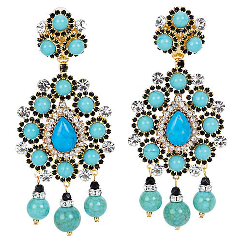 Vrba Turquoise Oversize Drop Earrings