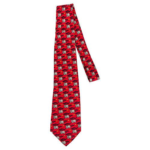 Hermès Red Silk Hippo Print Tie