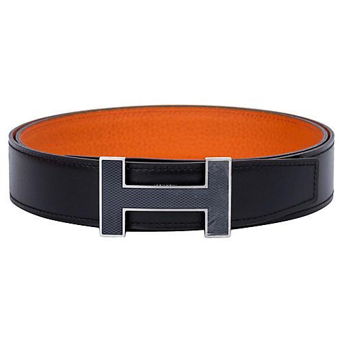 Hermès Black & Orange Unisex H Belt