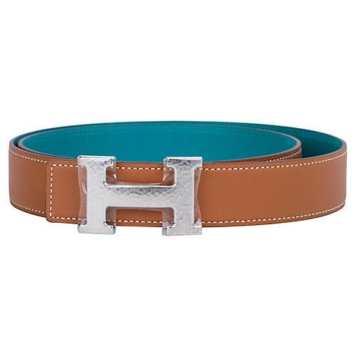 Hermès Gold & Blue Paon Unisex H Belt