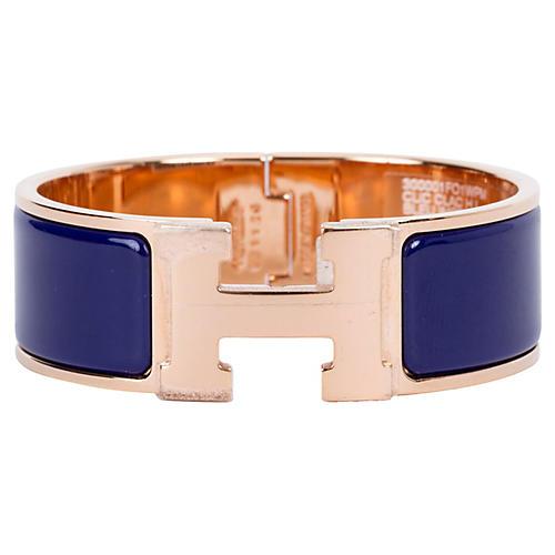 Hermès Blue Rose Gold H Bracelet