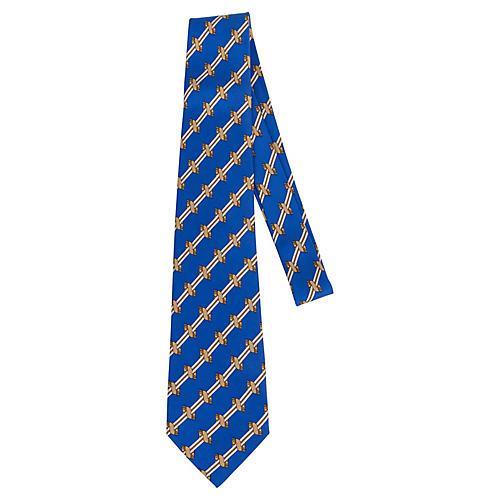 Hermès Blue & Gold Silk Print Tie
