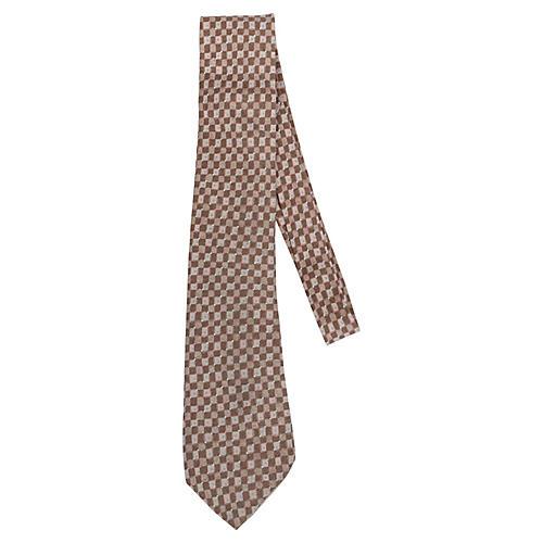 Hermès Beige Silk Geometric Tie