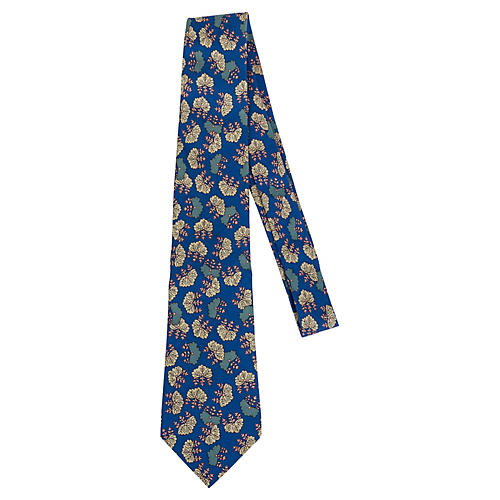 Hermès Blue Silk Leaf Print Tie
