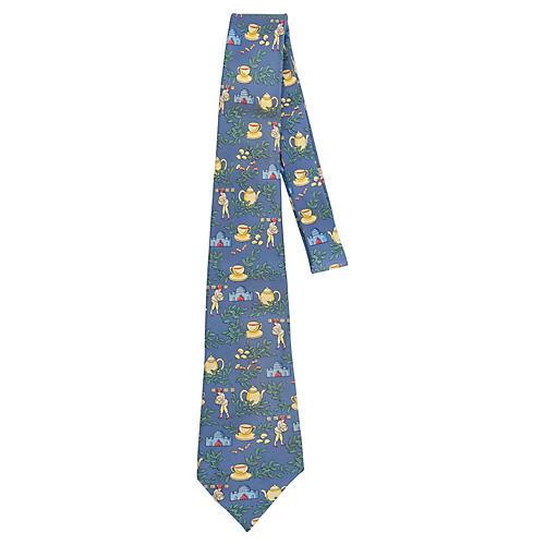 Hermès Blue Silk Teacup Print Tie