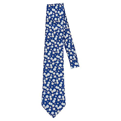 Hermès Blue Silk Twill Bubbles Tie