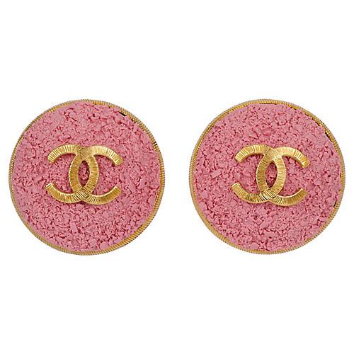 Chanel Oversize Pink Logo CC Earrings