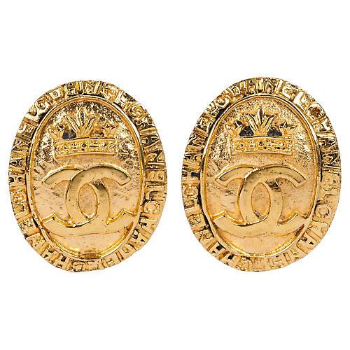 Chanel Oval Shield Earrings