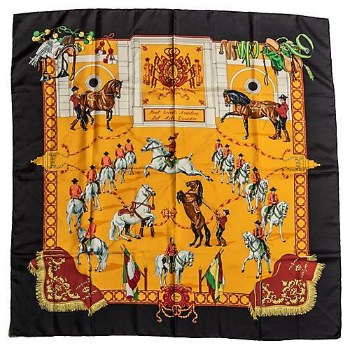 Hermès Black Equestrian Silk Twill Scarf