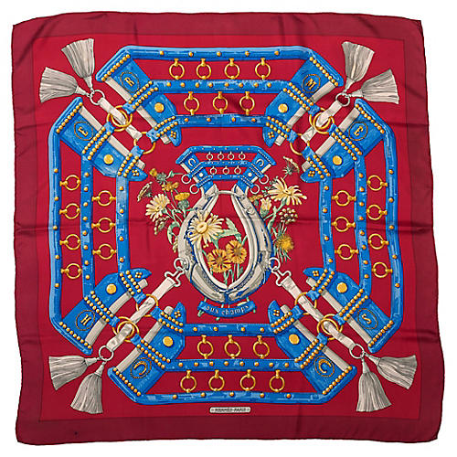 Hermes Aux Champs Red Silk Scarf