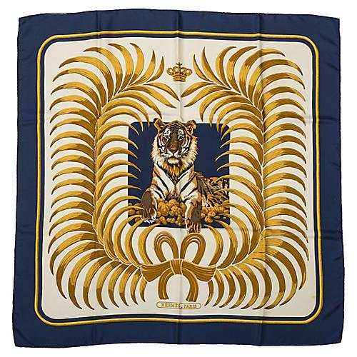 Hermes Navy Silk Tiger Scarf