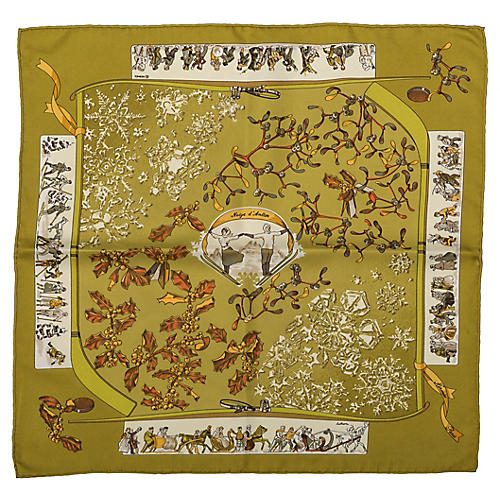 Hermes Neige d'Antan Silk Pouchette