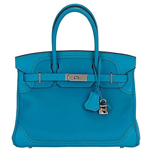 Hermès 30cm Turquoise Birkin Ghillies