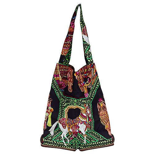 Hermès Brown & Green Horse Silky Pop Bag