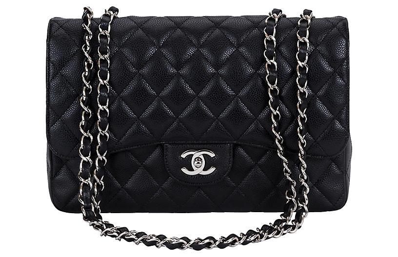 Chanel Black Caviar Single Jumbo Flap