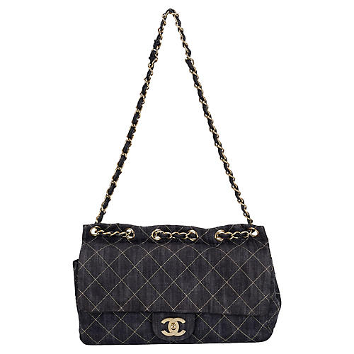 6099efe41d95 Chanel Dark Denim Jumbo Shoulder Bag