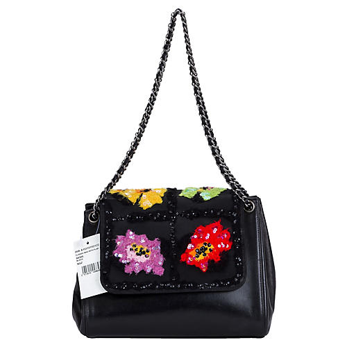 Chanel Black Embroidered Evening Bag