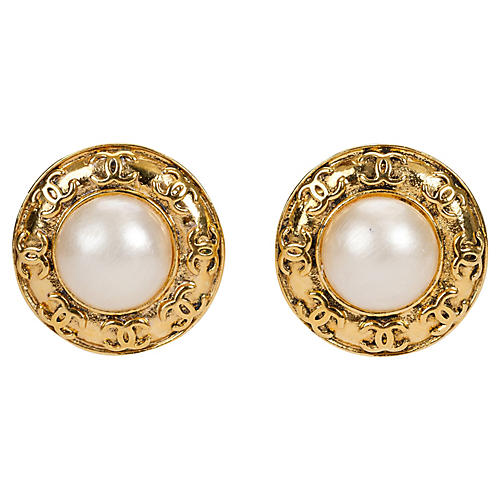 Chanel Faux-Pearl Earrings
