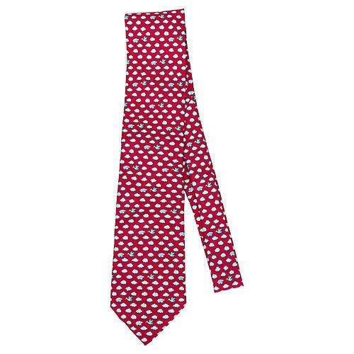 Hermès Red Silk Cloud Tie