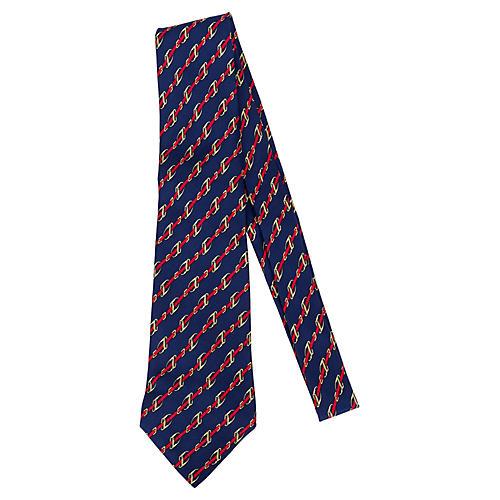 Hermès Navy & Red Silk Link Tie