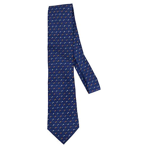Hermès Blue Silk Floral Bud Tie