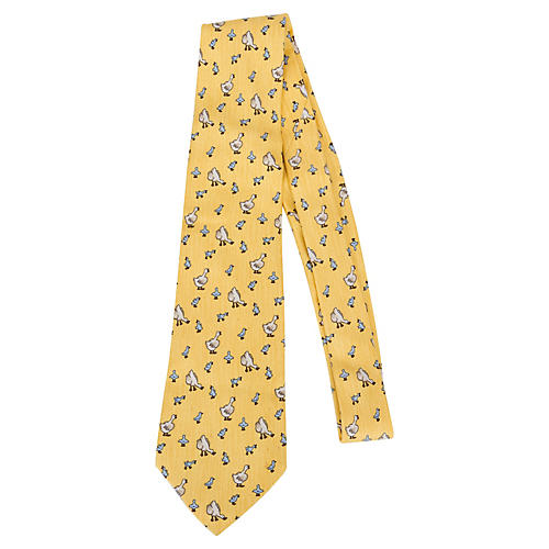 Hermès Yellow Silk Duckling Tie