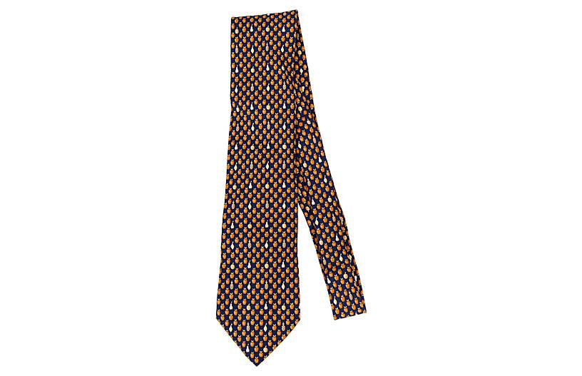 Hermès Navy Fruit Print Tie