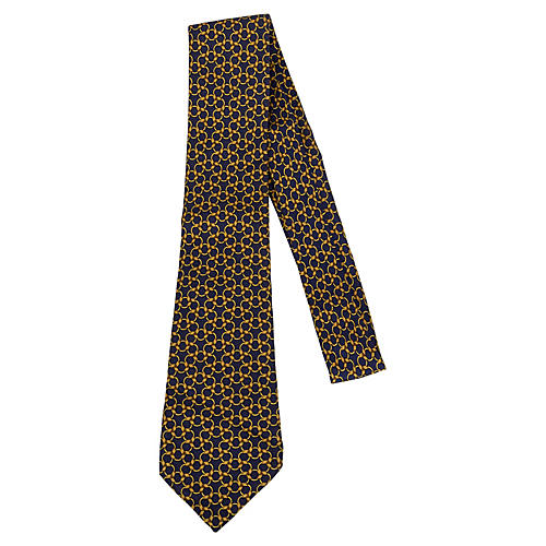 Hermès Navy & Gold Link Tie