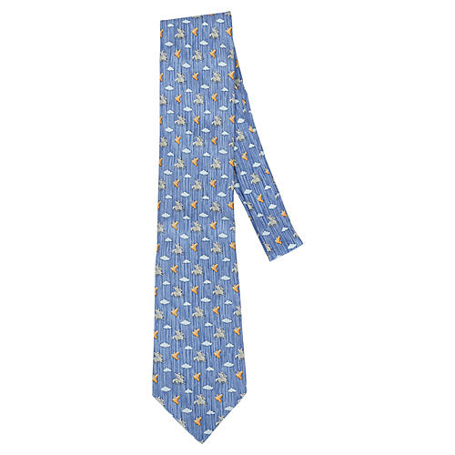 Hermès Blue Print Pegasus Tie
