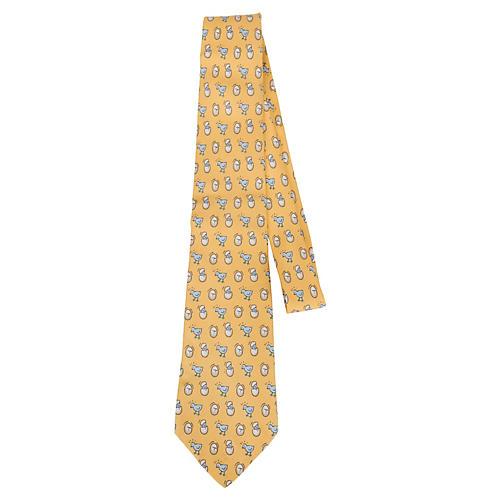 Hermès Yellow Silk Baby Chick Tie
