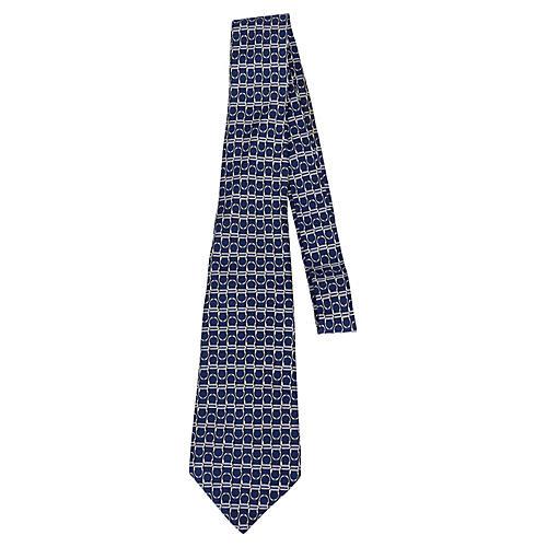 Hermès Navy Silk Print Tie