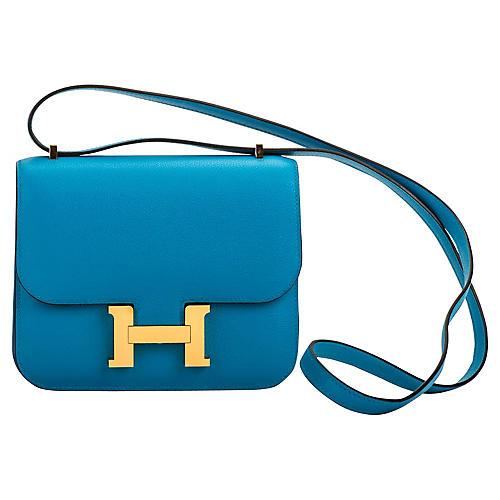 Hermès Blue Zanzibar Mini Constance