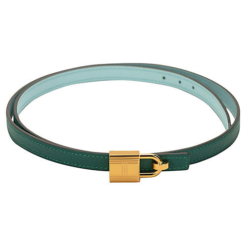 Hermès Green & Blue Atoll Lock Belt