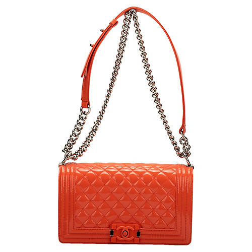 Chanel Orange Patent Medium Boy Bag