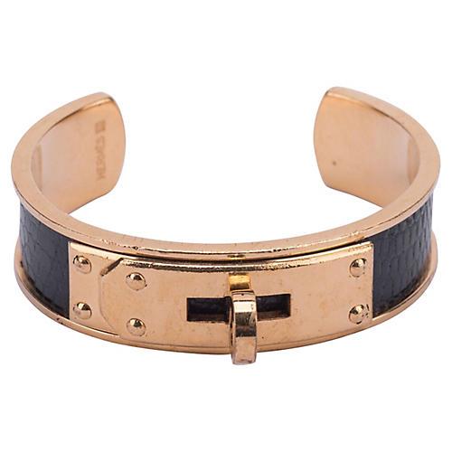 Hermès Black Lizard & Gold Cuff