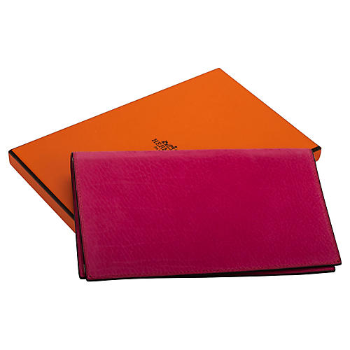 Hermès Hot Pink Suede Checkbook Cover