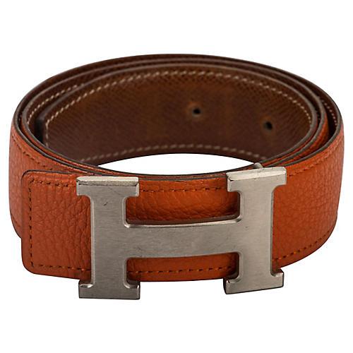 Hermès Reversible Orange/Gold H Belt