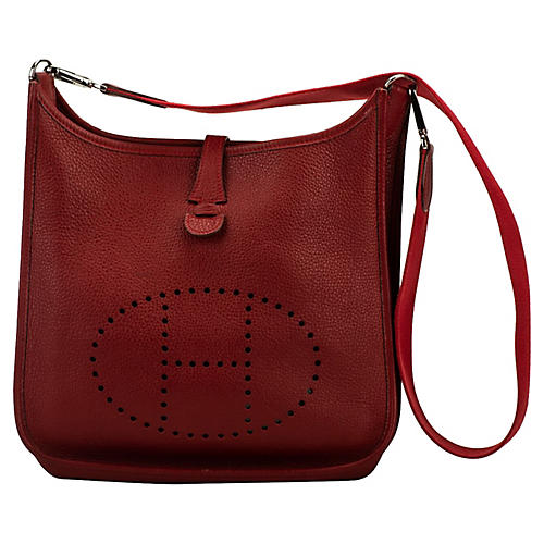 Hermès Red Clemence PM Evelyne